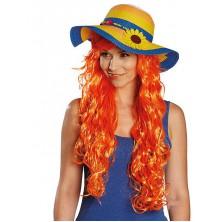 Dámsky slamený klobúk so slnečnicou