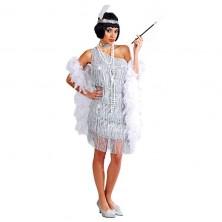 Charleston - strieborné šaty veľ. 42-44