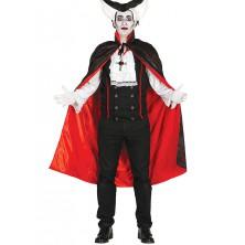 Plášť červeno-čierny s golierom