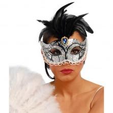Maska strieborná s perím