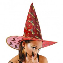 Čarodejnícky klobúk červený s netopiermi