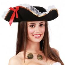 Pirátský klobouk třírohý s mašlí a krajkou