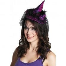 Čarodejnícky klobúčik s vlasovou sponou fialový